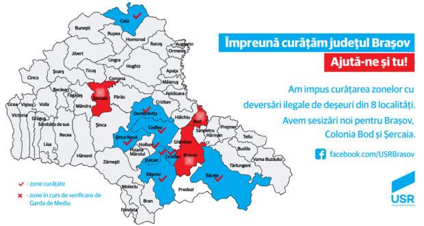 """USR Braşov a pornit proiectul """"Harta deşeurilor"""", pe care apare și Săcelele"""