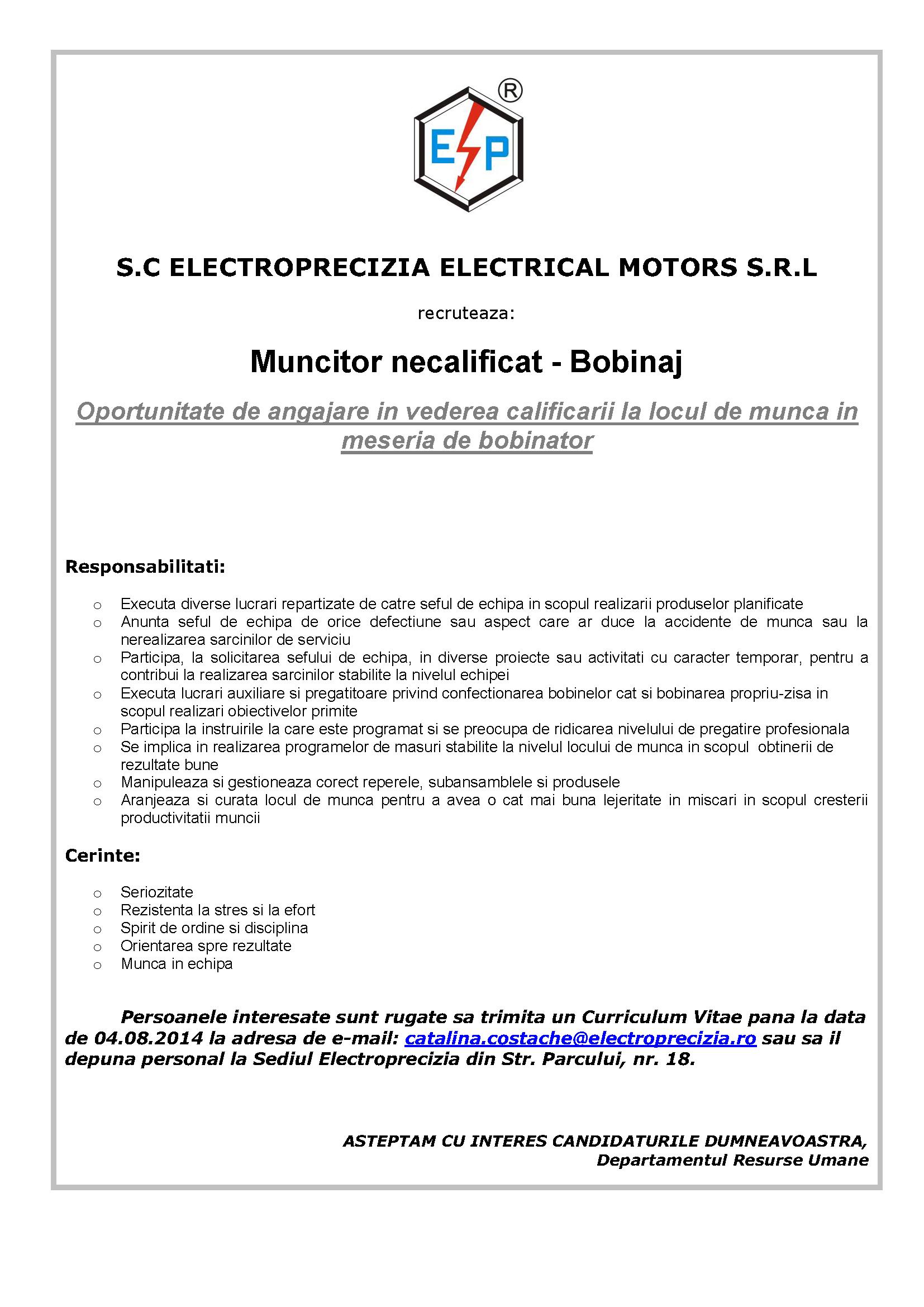 Anunt recrutare interna - Muncitor necalificat - PT AJOFM